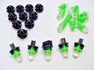 "15 Green Domes LEDs Lights Bulbs 1/2"" Sockets Instrument Panel Dashboard Imports"