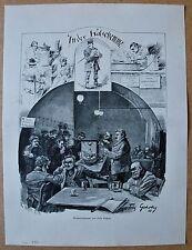 """Gasthaus, Kneipe, Bier, Ausschank. """"In der Katschemme"""" Holzstich 1887"""