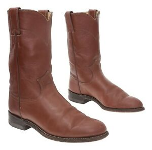 JUSTIN Cowboy Roper Boots 5.5 B Womens Vtg Brown Leather Biker Motorcycle Boots
