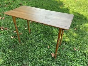 Vintage Antique Lewiston Maine Hand Sewing Industrial Wood Folding Table Ruler