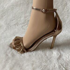 Ladies Gold Starppy Heel Sandal Size 6 Shoe River Island