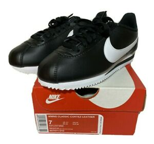 NIKE Classic Cortez Leather Black White Comfort Shoes 807471-010 Women's Size 7