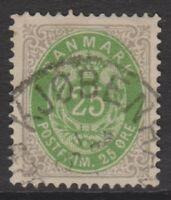 Denmark - 1875/1903, 25 ore Green & Grey stamp - F/U - SG 73