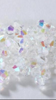 100 White Clear Shimmer 4mm Bicone Crystals Spacer Beads DIY Art Craft Wedding