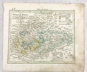 1843 Antique Map of Germany Sachsen German Rare Hand Coloured Engraving