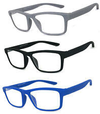 Men Women Square Frame Reading Glasses Spring Hinges Temples Rubberized Touch