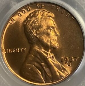 1937-D Lincoln Cent MS66RD Wheat Penny Red Gem!