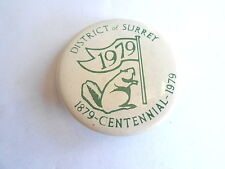 Vintage 1979 District of Surrey BC Canada Centennial Beaver Souvenir Pin Pinback