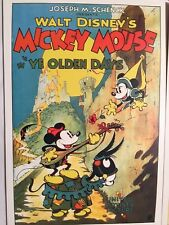 "Disney MICKEY MOUSE - ""YE OLDEN DAYS"" Greeting Note Card - Retro Design Art -NEW"