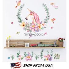 DIY Unicorn Flower Removable Vinyl Decal Wall Sticker Lovely Mural Room Decor
