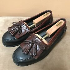 Johnston And Murphy 2 Tone Black Brown Leather Tasseled Loafers Shoes size 9.5