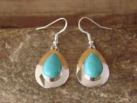 Native American Sterling Silver Inlay Turquoise Dangle Earrings by Russel Wil...