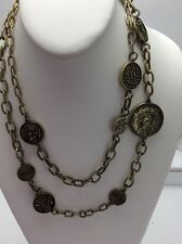$65 Betsey Johnson Jewelry THROWBACK TO VINTAGE BJ COIN NECKLACE V10
