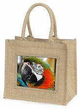 Face of a Macaw Parrot Large Natural Jute Shopping Bag Christmas Gif, AB-PA75BLN