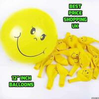 "100 x SMILEY YELLOW 12"" FACE BALLOONS Latex Rubber Helium Party Decor baloons"