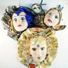 3 venezianische Wandmasken Porzellanköpfe Wanddeko Figuren  S-2356