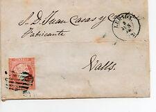 Sobre de carta de Lérida a Valls ( Tarragona ) con sello 4 cuartos ( Edifil 48 )