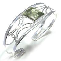Rainforest Jasper Gemstone Handmade 925 Sterling Silver Cuff Jewelry 6575