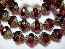 15 12x10mm Czech Glass Faceted  Purple Amethyst Travertine Turbine Beads