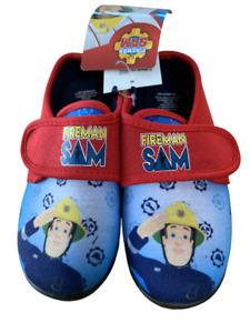 Boys Fireman Sam Slippers Kids Easy Fasten Slipper House Shoes
