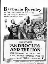 "1952 Movie Ad ""Androcles and the Lion"" Jean Simmons,Victor Mature,Alan Young"