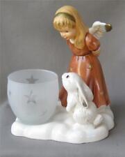Large Goebel Porcelain Angel and Rabbit Tealight Candleholder Germany