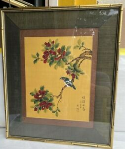 vintage Chinese hand painted on gold silk artist signed w/seal STUNNING LISTED ?