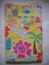 "New Summer Fun Vinyl Tablecloth Beach Swimming Theme 52"" Square 60"" Round & Oblg"
