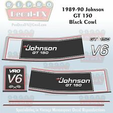 1989-90 Johnson GT150 Black Cowl V6 Sea-Horse Outboard Repro 8 Pc Vinyl Decals