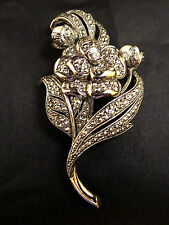 Vtg KJL for Avon Signed 'Antique Impressions' Faux Marcasite/Pearl Flower Brooch
