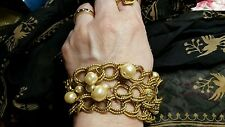 Miriam Haskell Vinlage Link Bracelet Faux Baroque Pearl 24K Russian Gold Plate