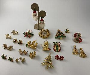 Vintage Christmas Tree Pin Brooch/Earrings Lot of 18 Enamel Rhinestones