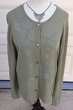 SAKS FIFTH Beaded Sweater Womens Cardigan XL Army Green Top THE WORKS