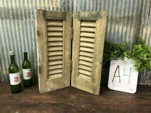 Small Antique Farmhouse Shutter, Natural Wood Shutter Architectural Salvage A4,