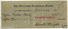 ORVILLE WRIGHT Signed Check / Cheque - Aviation Pioneer / Inventor - preprint