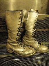 "CAROLINA LINESMAN Boots ~ Vintage ~ Size 8 ~ CUSTOM SILVER Leather 15"" KISS"