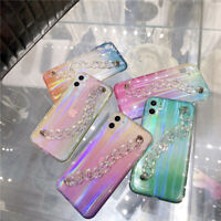 For iPhone 12 Pro Max 11 XS XR 7 8 Bling Glitter Laser Gradient Case w/Chain