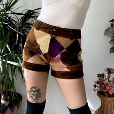 VTG 1960s 1970s Hippie Mod Go-Go Multicolor Suede Patchwork High Waisted Shorts