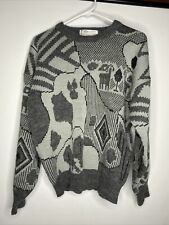 Vtg 80s/90s Cosby Coogi Wool Grey Sweater Multi GEO Sz Med Ski Party Swag