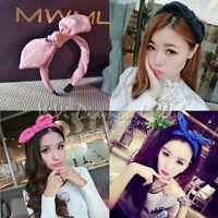 Fashion Korean Style Rabbit Bunny Ears Ribbon Scarf Hair Tie Wrap Bow Headband W