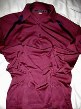 Greg Norman Play Dry Wicking Shark Tooth Sleeve Red/Blue Stripe Golf Shirt- L