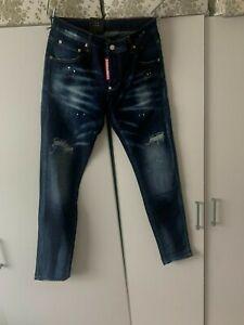 Dsquared2 Men's Jeans Slim Fit  Distressed Jeans Paint Splatter Jeans