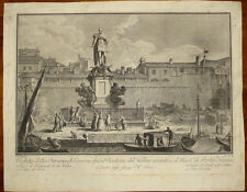Stampa antica Livorno Darsena 4 mori Terreni incisione engraving kupferstich