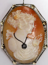 ANTIQUE LARGE 10K WHITE GOLD SHELL CAMEO BROOCH DIAMOND