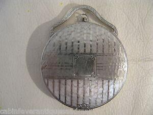 Vintage Art Nouveau Deco Classic Auto Silver Bale Handle Powder Compact 1920s
