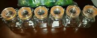 Apothecary Clear Glass Wire Bail Rubber Seal 8 Ounce Lot Of 6 Vintage Jar Set