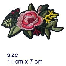 Pink Rose Iron on patch  - flower leaves flowers blossom petal iron-on patches