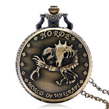 Retro Horde World of Warcraft Men Quartz Pocket Watch Necklace Chain Xmas Gift