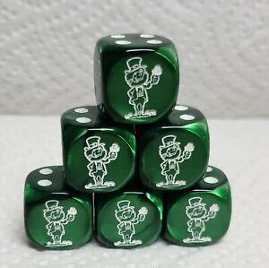 Dice - Chessex Custom Leprechauns on 16mm Velvet Green w/White Elf #1 & Pips