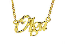 18K Gold Plated Necklace With Name OLGA - Bridal Name Chain Christmas Birthday